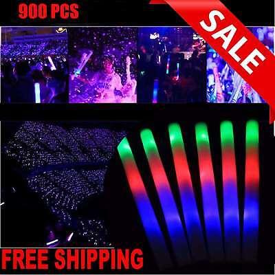 900 pcs Flashing Glow Stick Light Up Foam Sticks LED Wands Rally Rave Batons DJ (Glow Stick Wands)