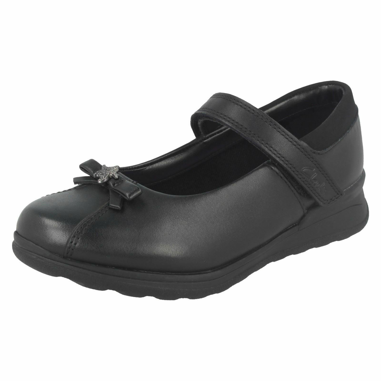 Clarks 'Mariel Wish' Girls Black Extra Wide H Fit School Sho