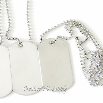 10 BLANK STAINLESS STEEL DOG TAGS SHINY/MATTE MILITARY SPEC BALL CHAIN - Dog Tags Necklace