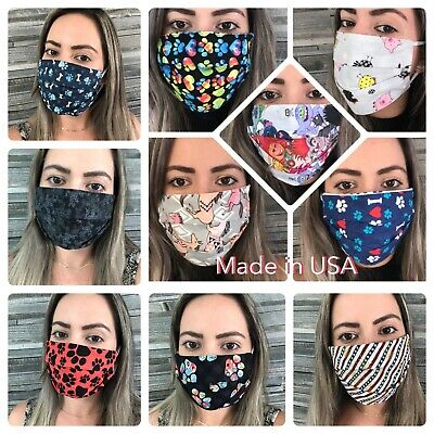 🇺🇸Filter Pocket 100% Cotton Face Mask Washable Reusable two Layers Unisex USA