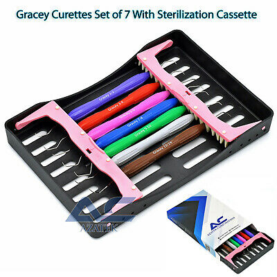 Gracey Curettes Silicon Handle Set Of 7 Periodontal Dental Root Scaler Cassete