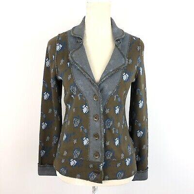 Anthropologie HWR Monogram Floral elbow patch cardigan sweater jacket M.  B304
