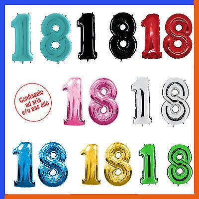 PALLONCINO NUMERO 18 ANNI Vari colori DICIOTTESIMO COMPLEANNO 100 CM Gas elio