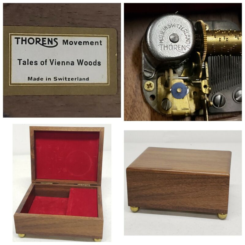 """Classic Thorens Music Box Wood / Velvet Lined SWISS MADE """"Tales of Vienna Woods"""""""
