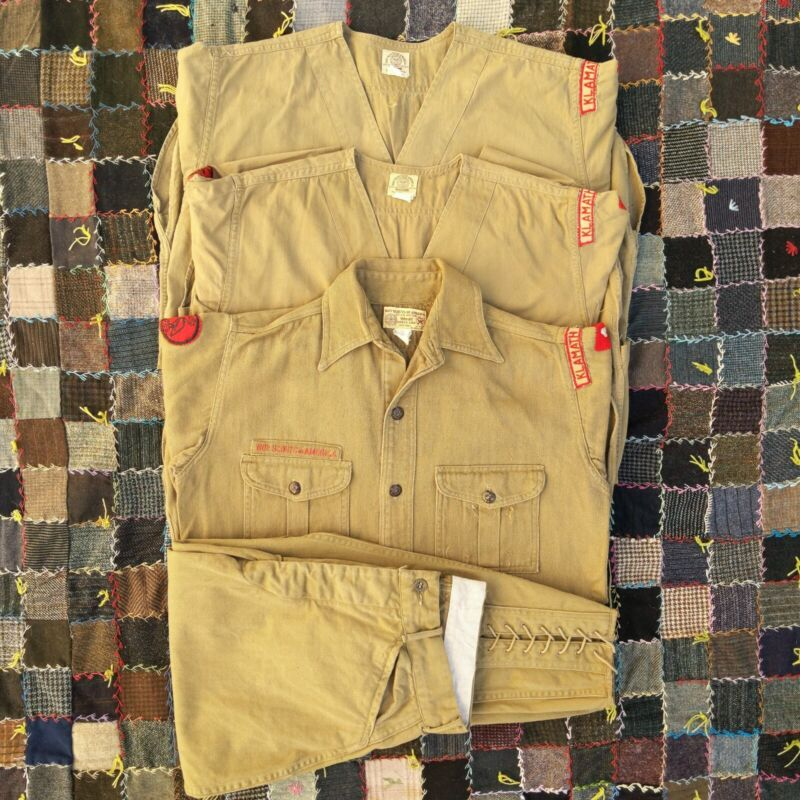 """Vintage 30s Sweet Orr BSA Boy Scouts Shirts (3) And Knickers (1) Oregon S-M 27"""""""