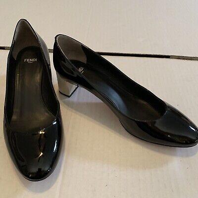 Fendi Eloise Womens Monochrome Patent Block Heels Pumps EU 38.5 US 8 Fits 7.5