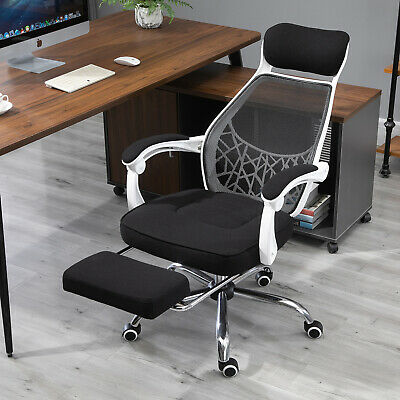 Vinsetto Office Chair Adjust Height Recliner With Footrest Wheel Home Office