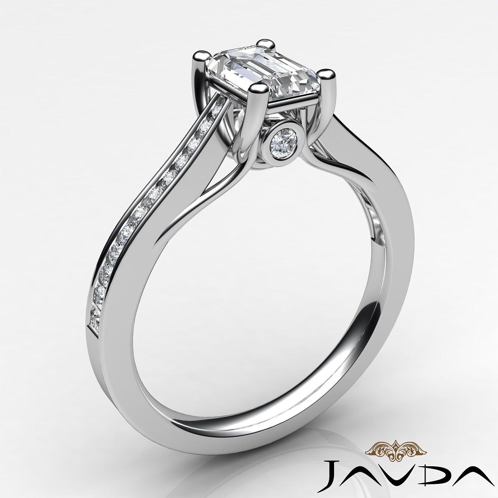 1.32ctw Channel Set Shank Emerald Diamond Engagement Ring GIA F-VVS2 White Gold 1