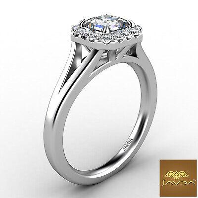 Asscher Diamond Engagement Halo Pre-Set Ring GIA F VS1 18k Yellow Gold 0.92Ct 6