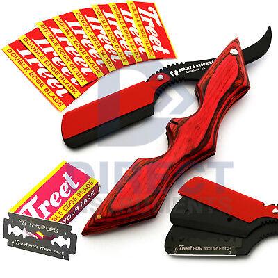 Batman Style Barber Hair Shaving Razor Straight Edge Folding Knife + Free Blades