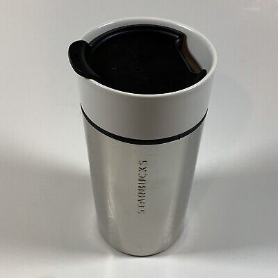 Starbucks Chrome & Ceramic Cup Mug Tumbler With Lid 12oz From 2015