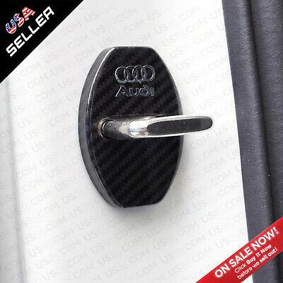 2x Audi Carbon Fiber Texture Door Car Lock Protective Cover Sticker Decoration