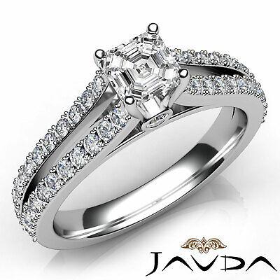 Asscher Cut Prong Set Diamond Womens Engagement Ring GIA G VS2 Platinum 1.15Ct