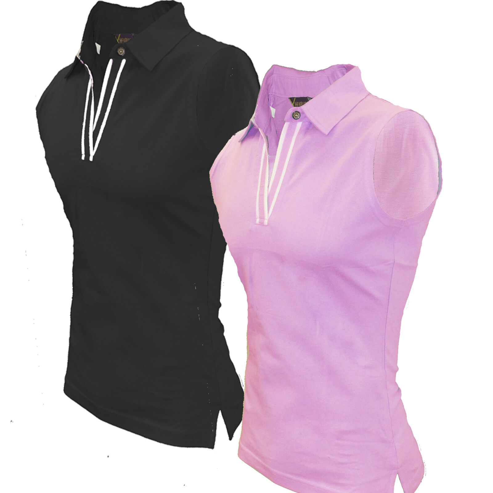 Sleeveless polo shirt pique womens henbury vest top golf for Ladies sleeveless golf polo shirts