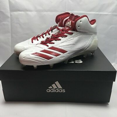 Adidas Adizero 5-Star 6.0 Mid Football Cleats white red SZ 10.5 ( B42481 )