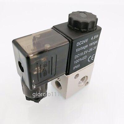 Us Stock Dc 24v Pneumatic Solenoid Air Valve 3 Way 2 Position Nc 18 Pt 3v1-06
