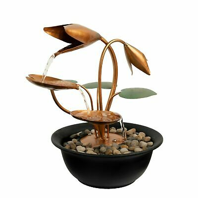Tabletop Water Fountain Metal Flowers Leaves Soothing Sound Indoor Decorative