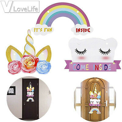 Girls Shop Name (Colorful Cute Unicorn Door Name Wall Plaque Girls Boy Bedroom Shop Hanging)