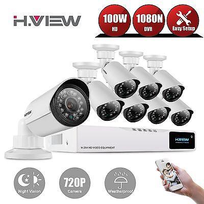H.View 8CH 1080N CCTV DVR KIT 1800TVL Kamera Sicherheitssystem Video überwachung