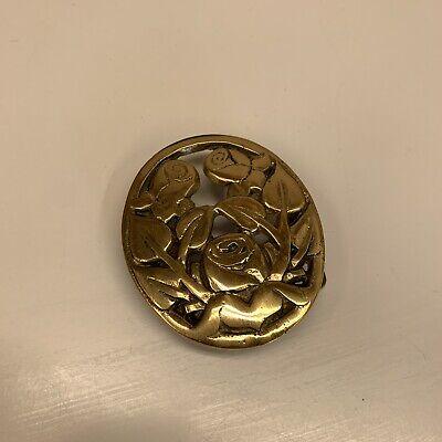 Vintage Gold Brass? VTG Roses Flowers Floral Belt Buckle Oval Shape 2.5