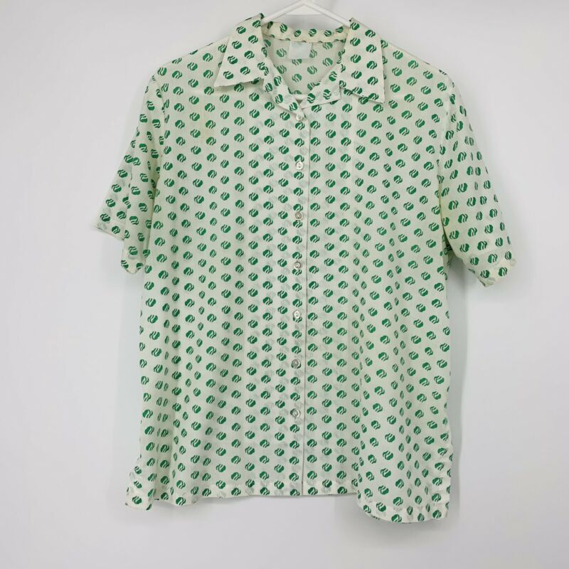 VINTAGE GIRL SCOUT Womens/Girls Button Down Shirt White Green Cotton