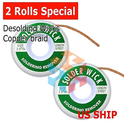 2.0mm Desoldering Braid Solder Remover Spool Copper Wick 5 Ft 1.5m - Usa Seller