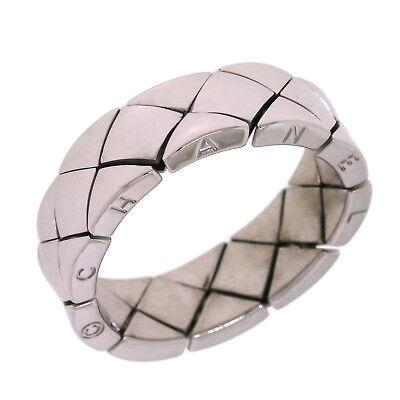 CHANEL 18K White Gold Quilt Matelasse Flex Link Wide Men's Ring Size 11