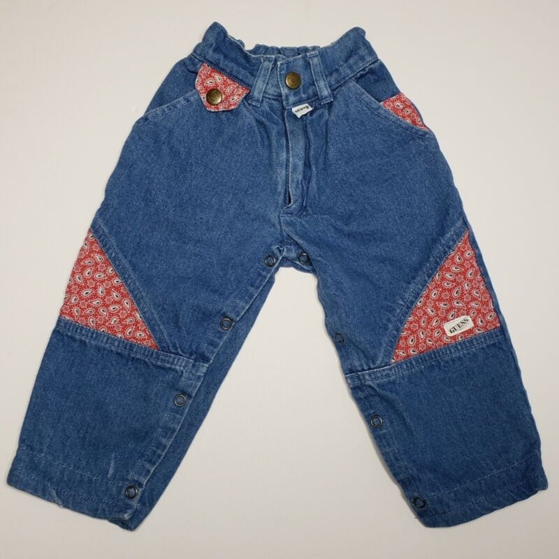 Vintage Baby GUESS Denim Paisley Jeans Size 6M Made in USA