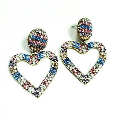 E0131 Gold Tone Multi Rhinestones Love Heart Shape Drop Dangle Post Earrings Dangling Heart Post Earrings