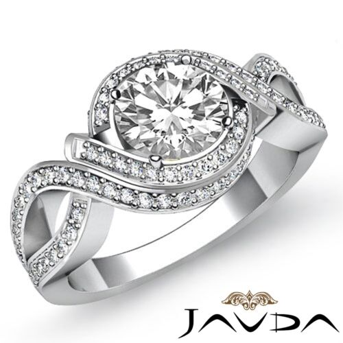 Natural Round Cut Diamond Engagement Halo Ring GIA F VS1 14k White Gold 2.5ct