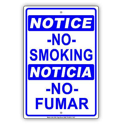 Notice No Smoking Noticia No Fumar Spanish Novelty Aluminum Metal Sign