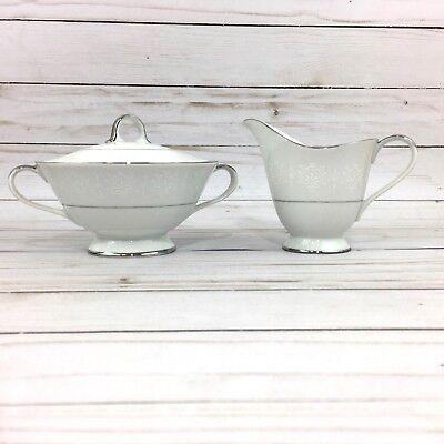 Seyei Fine China Covered Sugar Bowl & Creamer Wedding Bell Pattern 6631 Fine China Covered Sugar Bowl