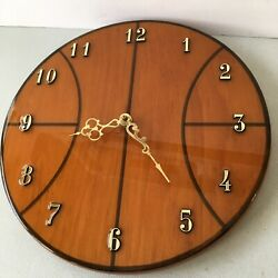 Handmade Basketball Wall Clock Wood Brass By Don Nutter Battery Works Vintage