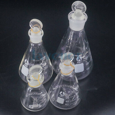 Sizes 50ml To 1000ml Lab Glass Erlenmeyer Conical Flask With Ground-in Stopper