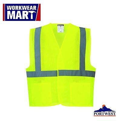 Hi Vis Reflective Mesh Vest Safety Work Ansi Class 2 Pockets Portwest Uc492