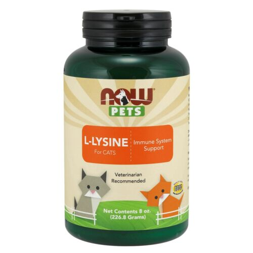 NOW Foods L-Lysine for Cats, 8 oz. Powder - Collagen Synthesis & Immune Function