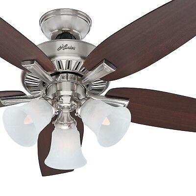 Hunter Fan 46 in Brushed Nickel Finish Ceiling Fan w/ Light Kit & Remote Control