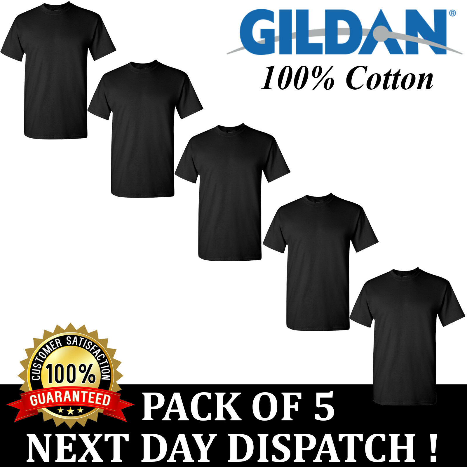 PACK OF 5 Gildan Softstyle Mens Black T-Shirt Ringspun Blank