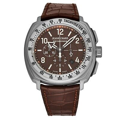 Jean Richard Men's Aeroscope Brown Dial Leather Automatic Watch 6065021008-002