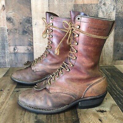 Hathorn Vintage Laceup Packer Logger Lineman Boots USA Made Mens 9.5 EE