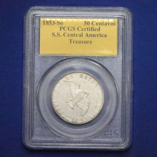 1853-So Chile Silver 50 Centavos PCGS certified Shipwreck SS Central America A96