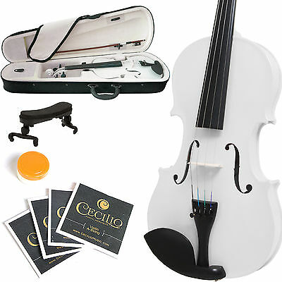 MENDINI SIZE 1/2 SOLIDWOOD VIOLIN METALLIC WHITE +TUNER+SHOULDERREST+BOW+CASE
