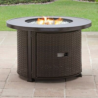 Gas Fire Pit Table Outdoor Patio Deck Backyard Outside Propane Firepit Round