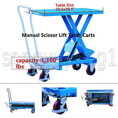 Eoslift Ta50 Hydraulic Manual Scissor Lift Table Cart Ca. 1100lbs 20.5x39.8 Us