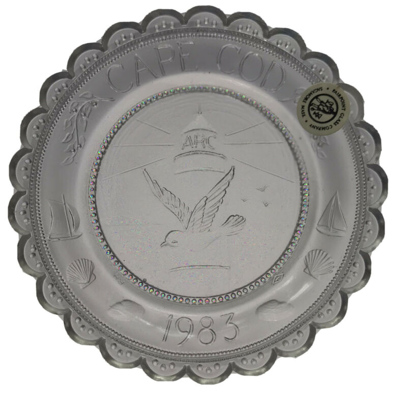 ARC Cape Cod Nautical Crystal Pairpoint Cup Plate MA Dept Developmental Services