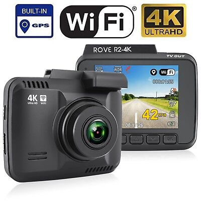 Rove R2-4K Car Dash Cam - 4K Ultra HD 2160P - Built-In WiFi & GPS, Parking Mode