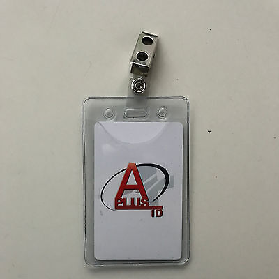 10 Pack - Clear Vertical Id Card Badge Holders And Strap Clip