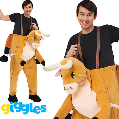 Buffalo Piggy Back Ride On Me Mascot Mens Fancy Dress Animal Carry Costume Stag - Riding Animal Costume