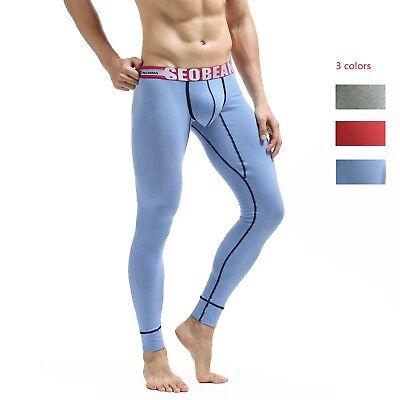 SEOBEAN Mens sexy cotton Long johns Low Rise Thermal Underpants leggings panties (Cotton Low Rise Leggings)