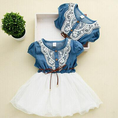 Princess Girls Baby Kids Lace Belt Denim Tulle Stitching Tutu Dress Outfit 1-6Y - Kids Princess Outfit